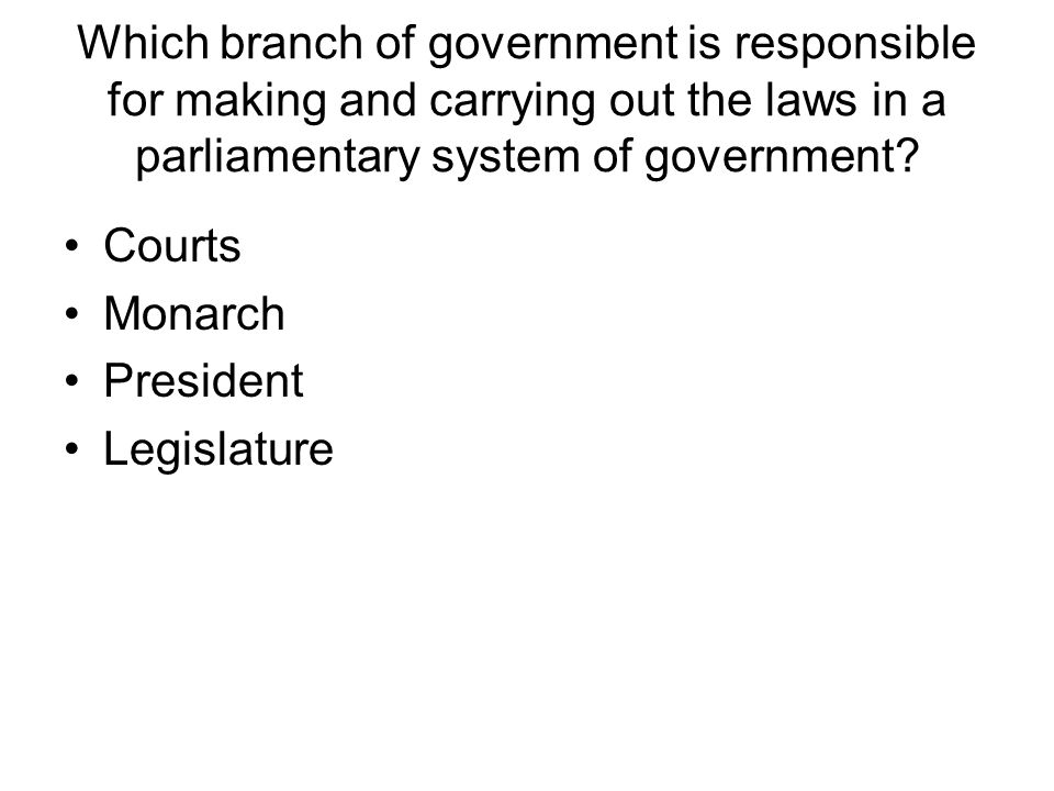 Which branch of government is responsible for making and carrying out the laws in a parliamentary system of government