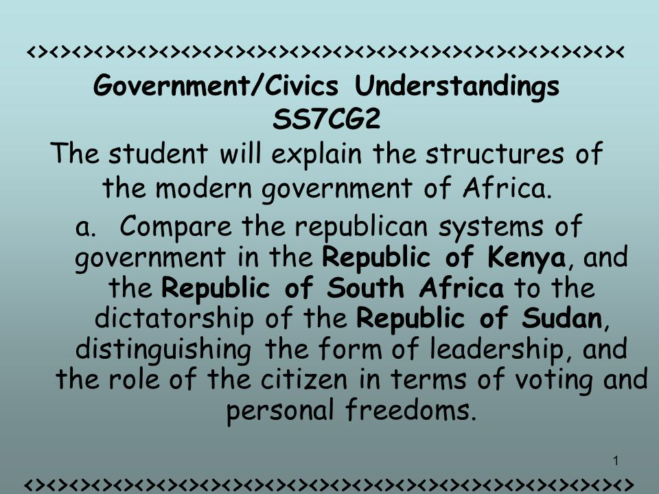 <><><><><><><><><><><><><><><><><><><><><><><><><><><>< Government/Civics Understandings SS7CG2 The student will explain the structures of the modern government of Africa.