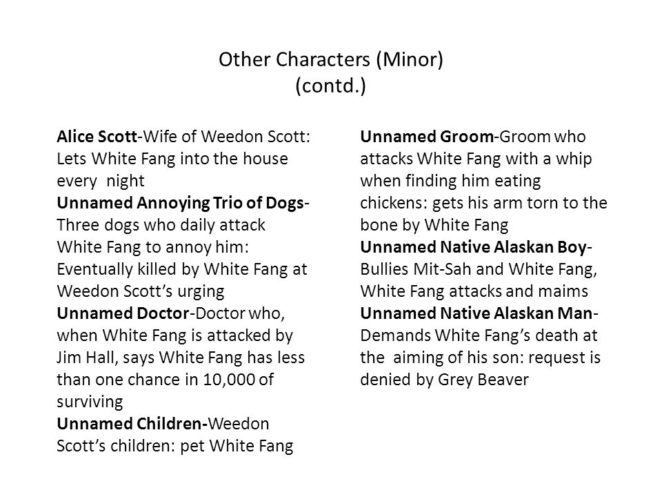 Other Characters (Minor) (contd.)