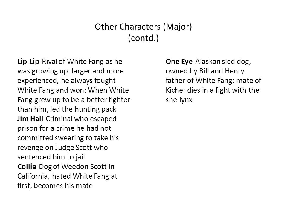 Other Characters (Major) (contd.)