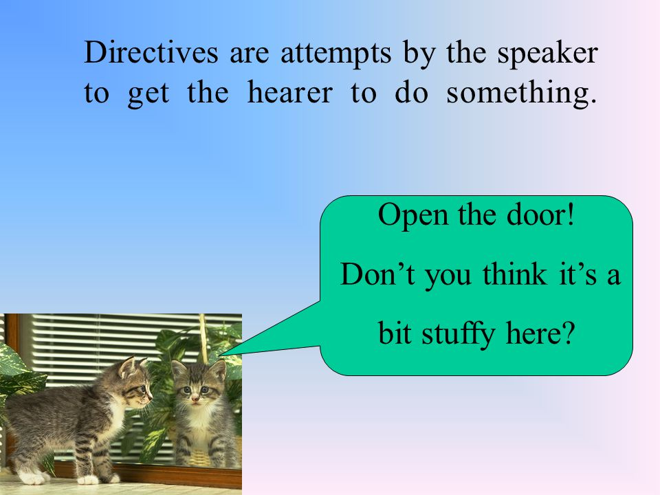 Directives are attempts by the speaker to get the hearer to do something.
