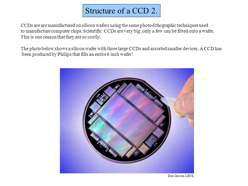Structure of a CCD 2. CCDs are are manufactured on silicon wafers using the same photo-lithographic techniques used.