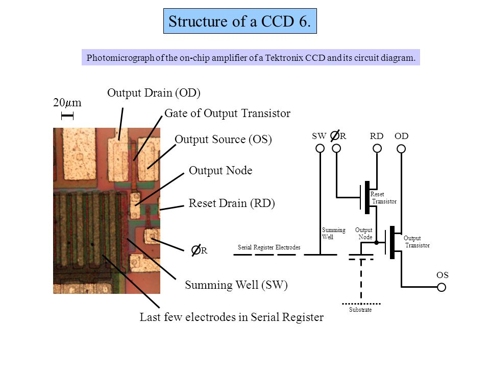 Structure of a CCD 6. Output Drain (OD) 20mm Gate of Output Transistor