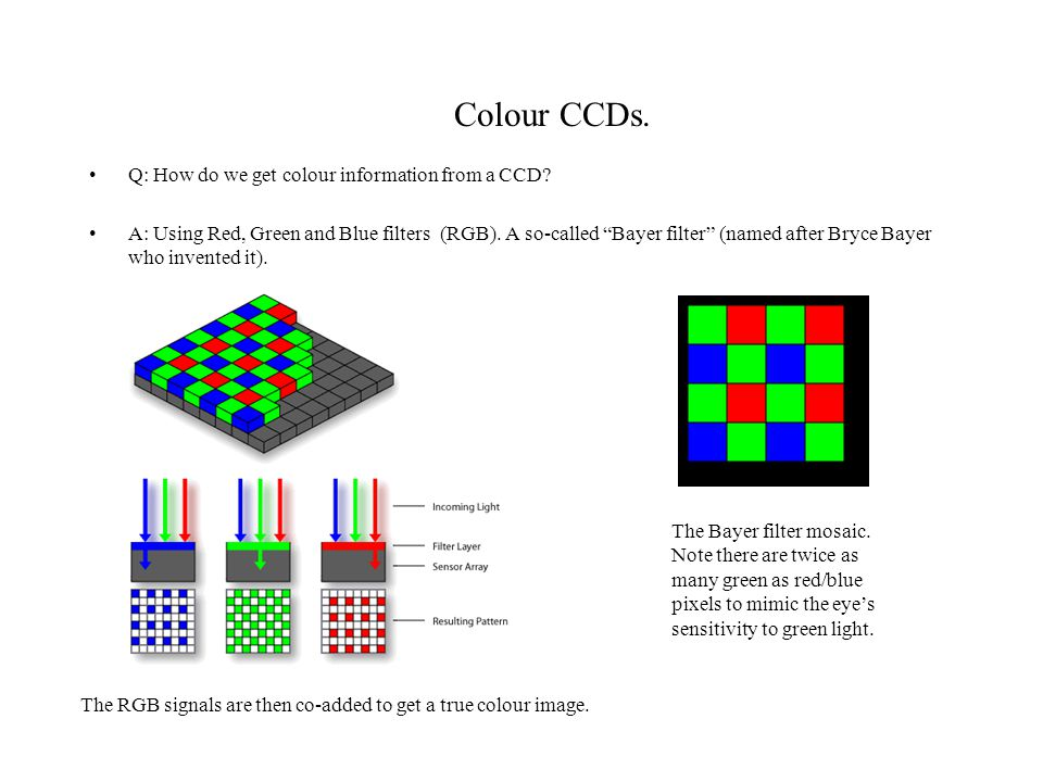 Colour CCDs. Q: How do we get colour information from a CCD