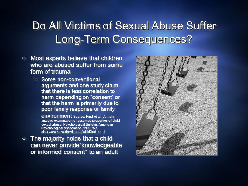 Do All Victims of Sexual Abuse Suffer Long-Term Consequences
