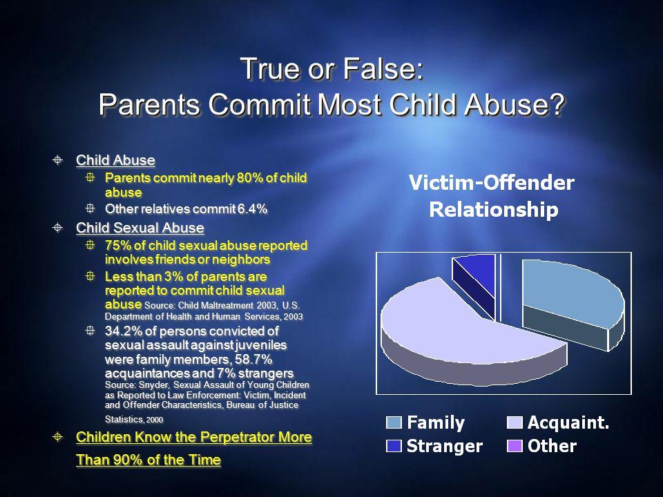 True or False: Parents Commit Most Child Abuse
