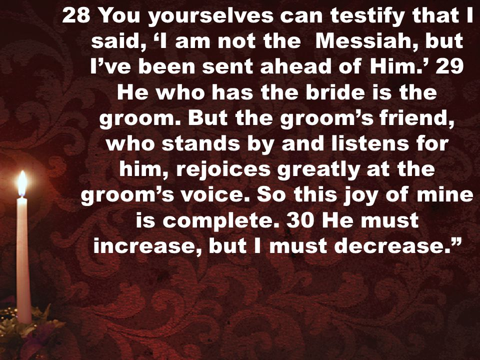 28 You yourselves can testify that I said, 'I am not the Messiah, but I've been sent ahead of Him.' 29 He who has the bride is the groom.