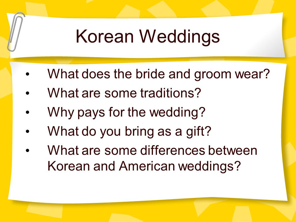 Korean Weddings What does the bride and groom wear