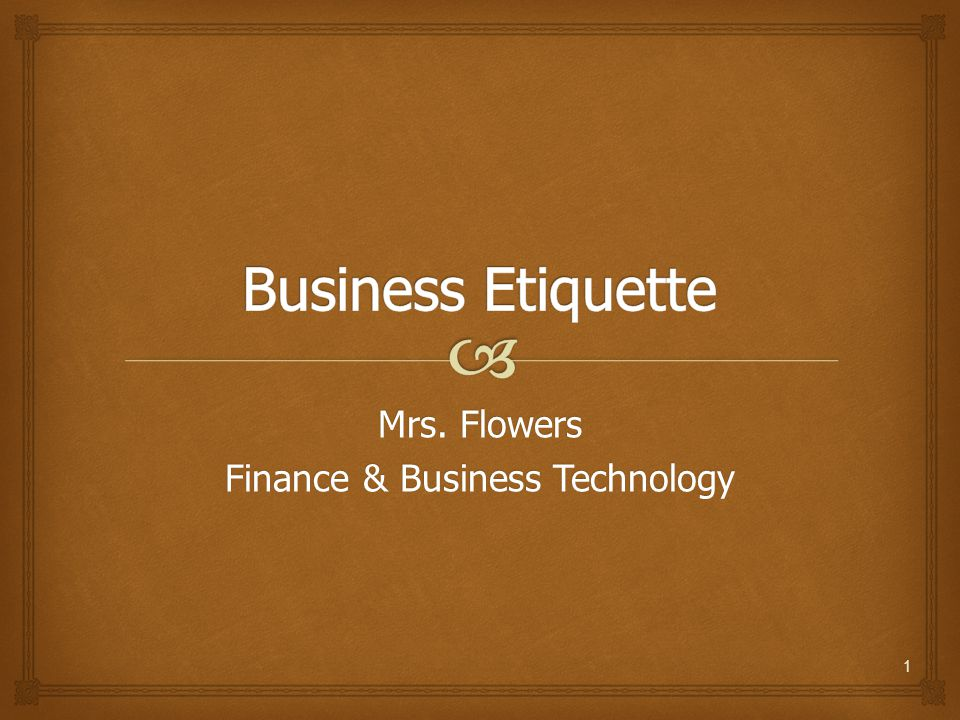 Mrs. Flowers Finance & Business Technology