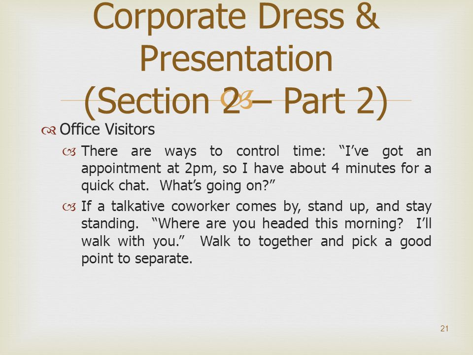 Corporate Dress & Presentation (Section 2 – Part 2)