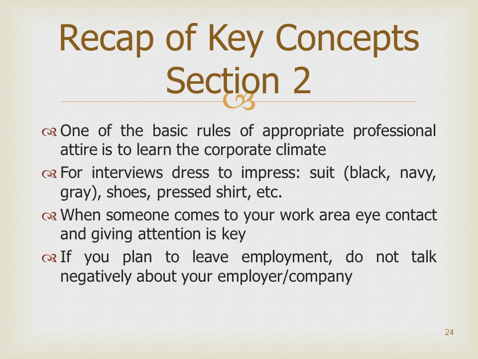 Recap of Key Concepts Section 2