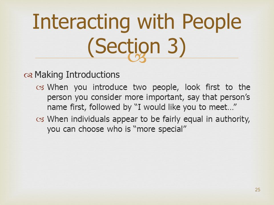 Interacting with People (Section 3)