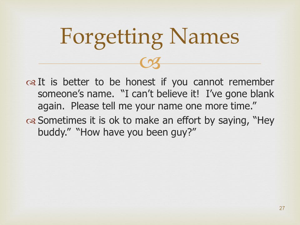 Forgetting Names