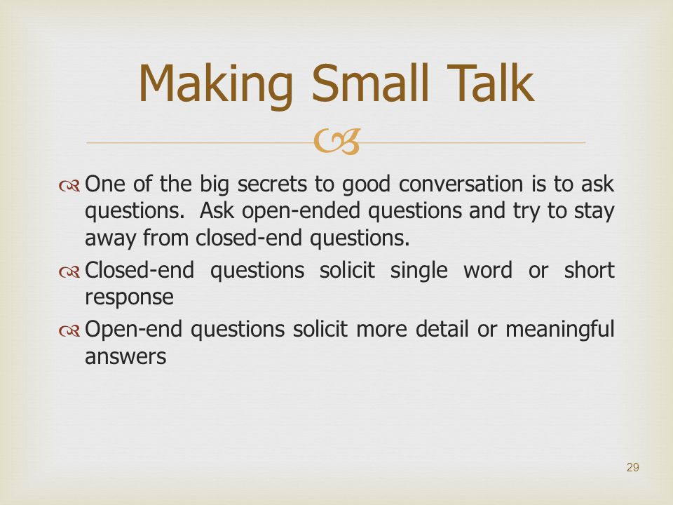Making Small Talk