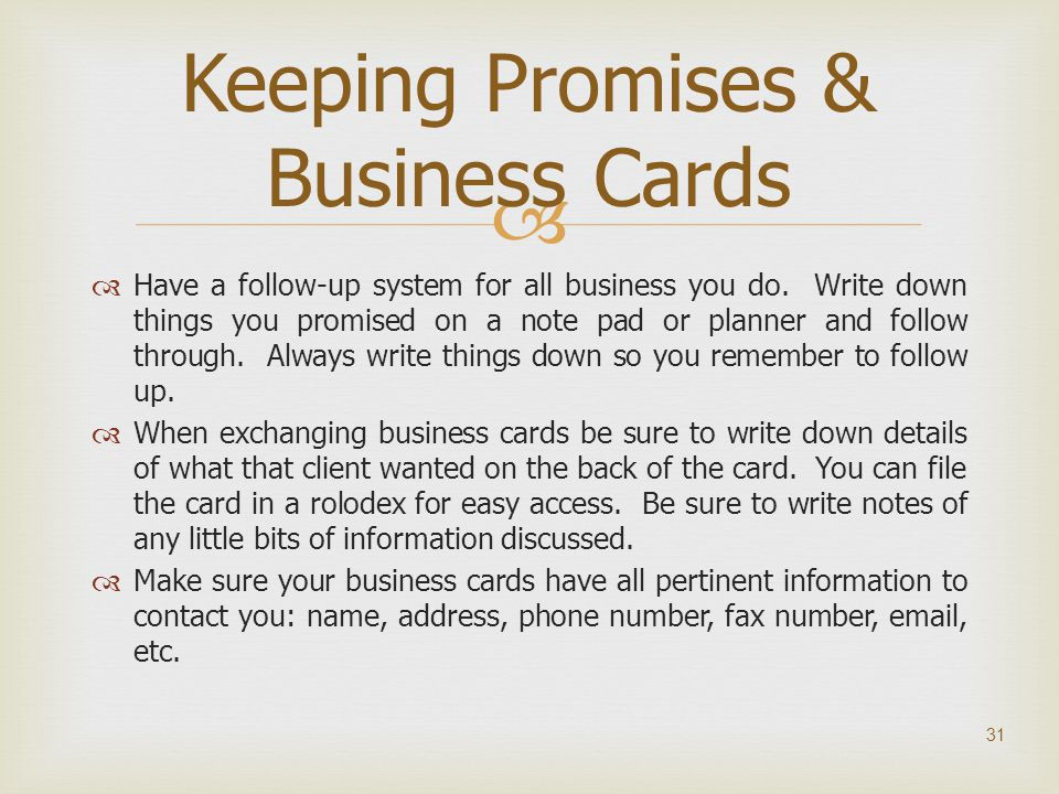 Keeping Promises & Business Cards