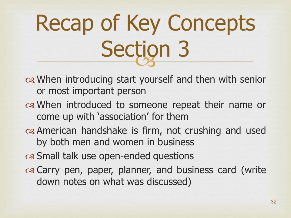 Recap of Key Concepts Section 3