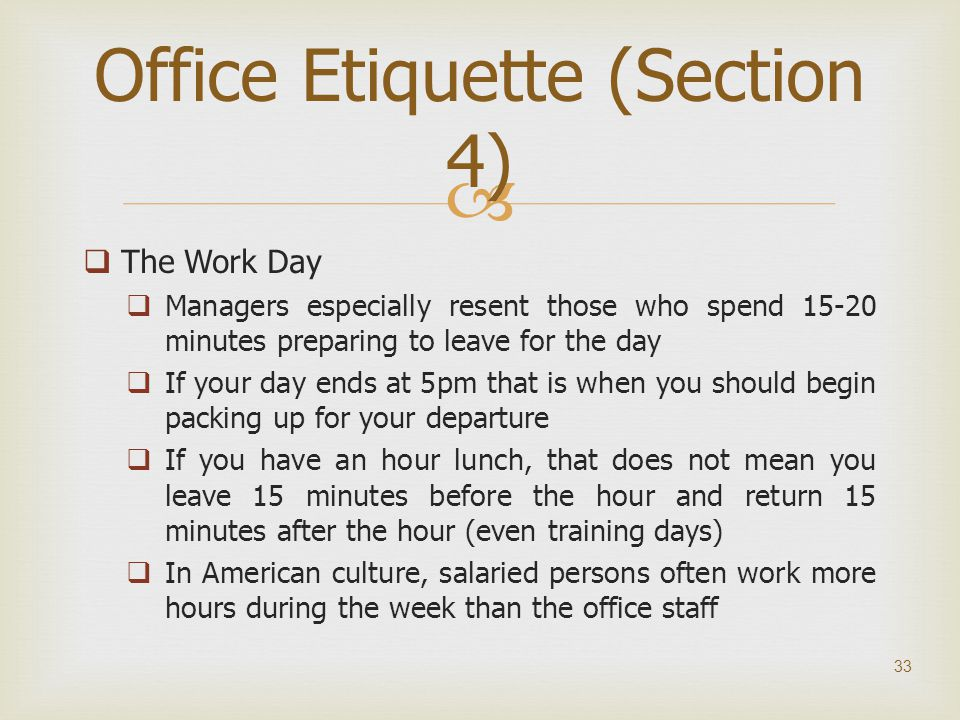 research paper on office etiquette To fully understand what information particular parts of the paper should discuss, here's another research paper example including some key parts of the paper.