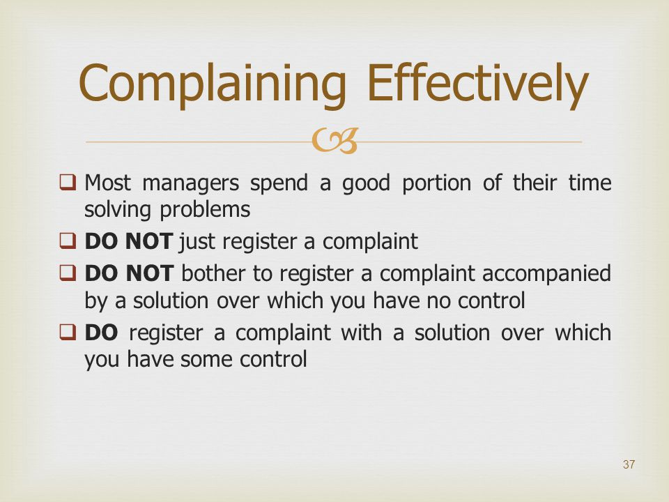 Complaining Effectively
