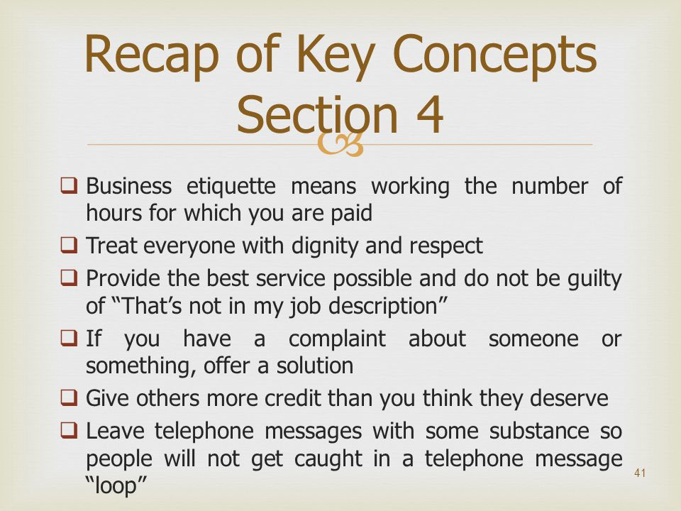 Recap of Key Concepts Section 4