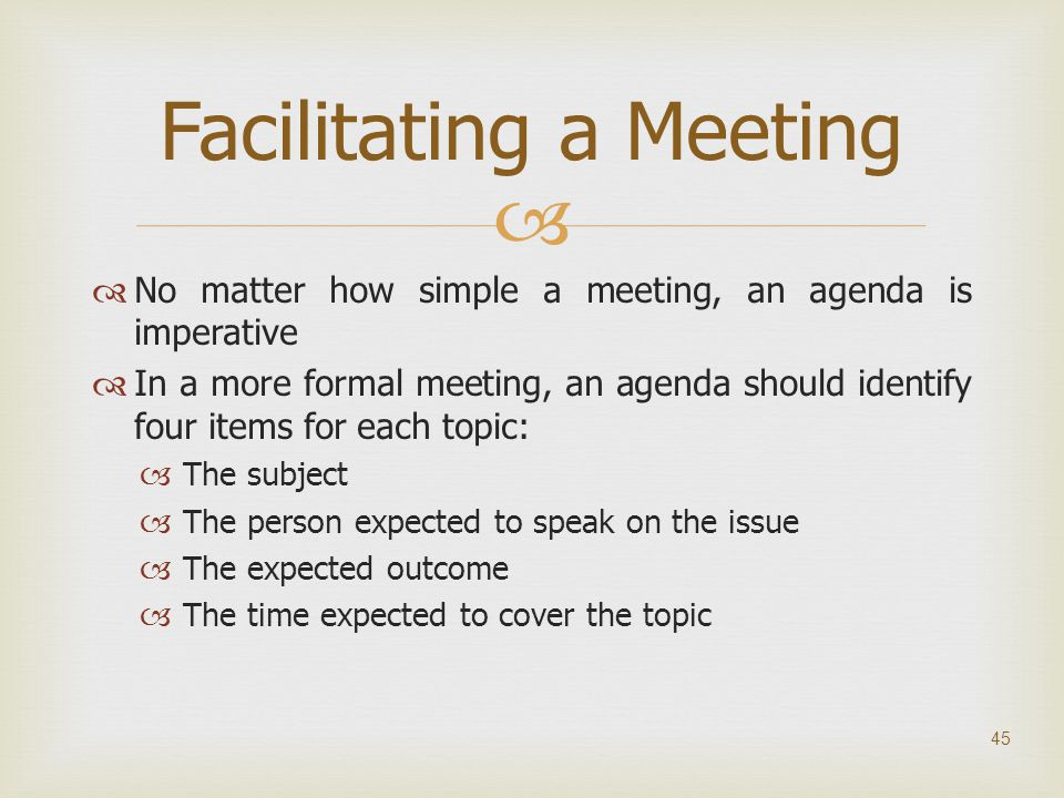 Facilitating a Meeting