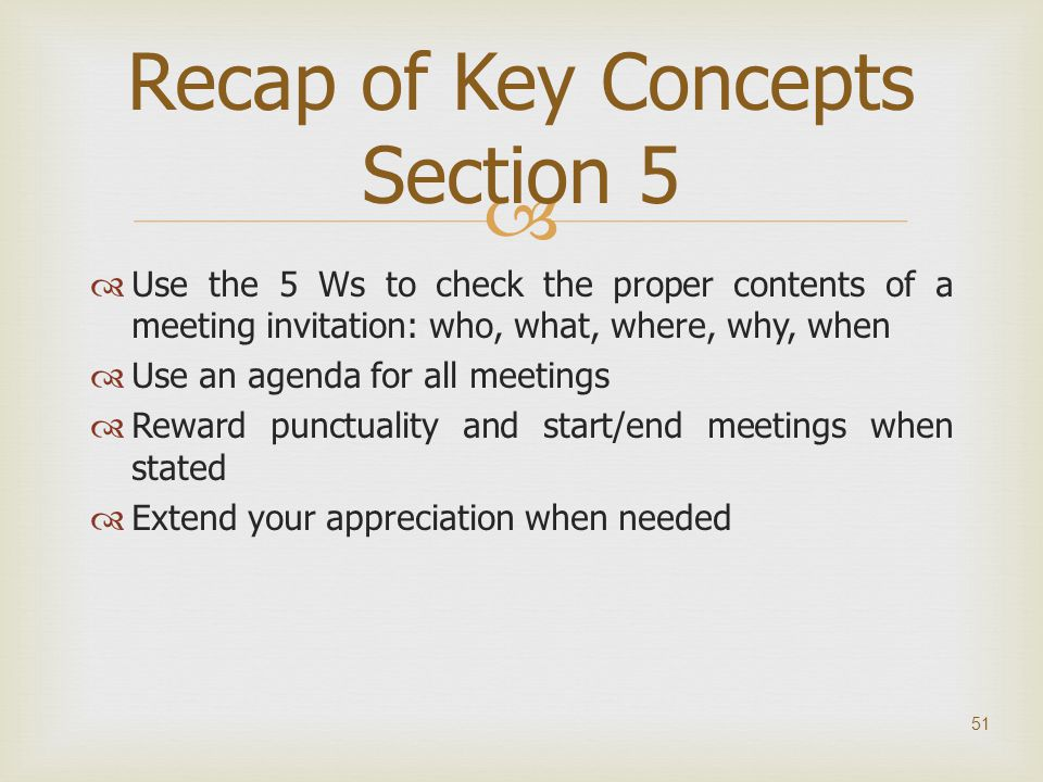 Recap of Key Concepts Section 5