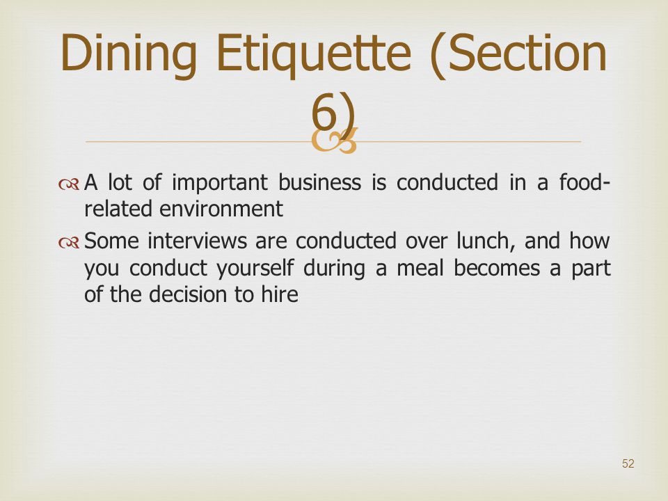 Dining Etiquette (Section 6)