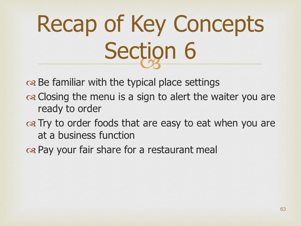 Recap of Key Concepts Section 6
