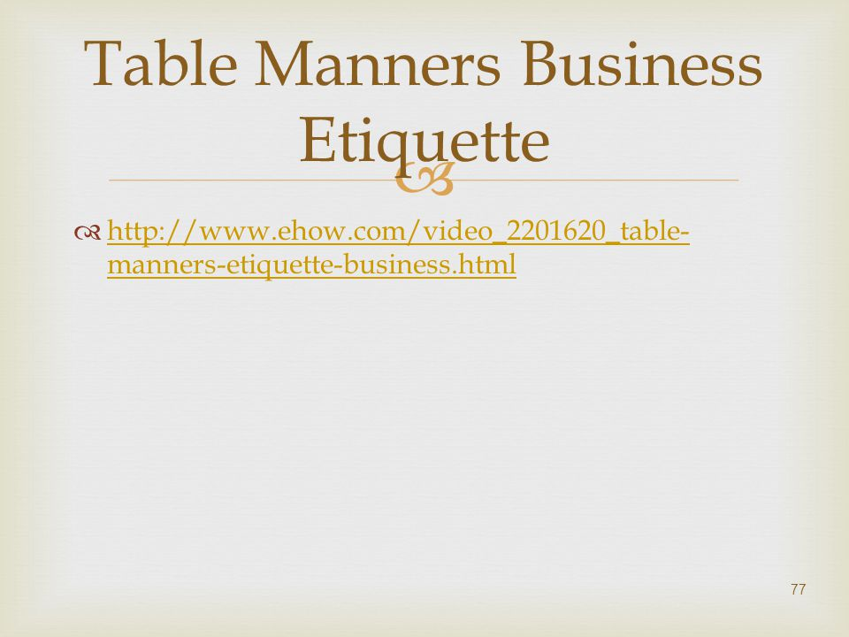 Table Manners Business Etiquette