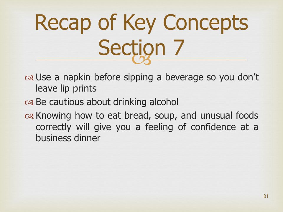 Recap of Key Concepts Section 7