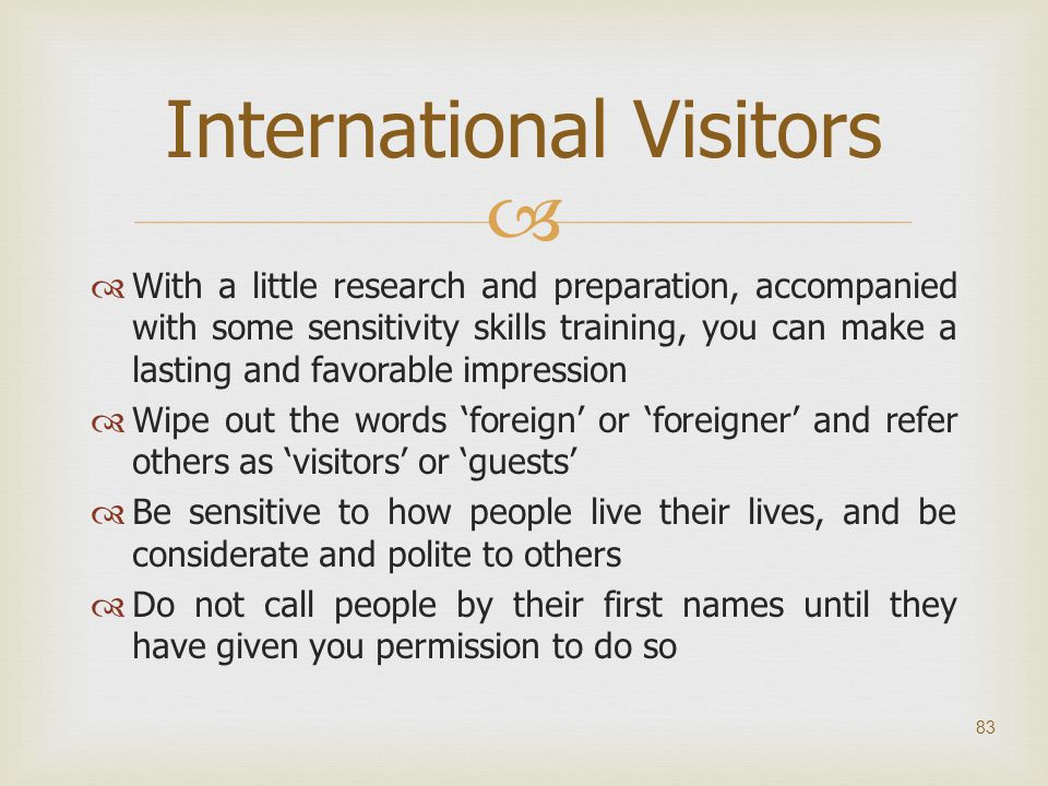 International Visitors