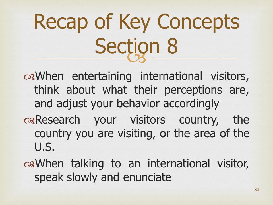 Recap of Key Concepts Section 8