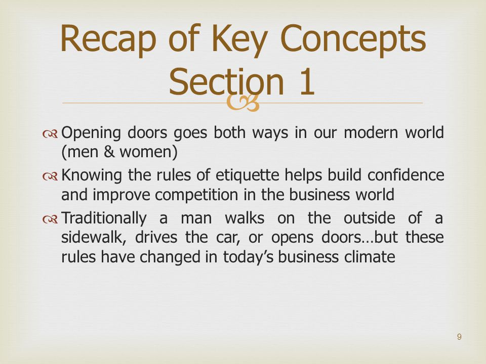 Recap of Key Concepts Section 1
