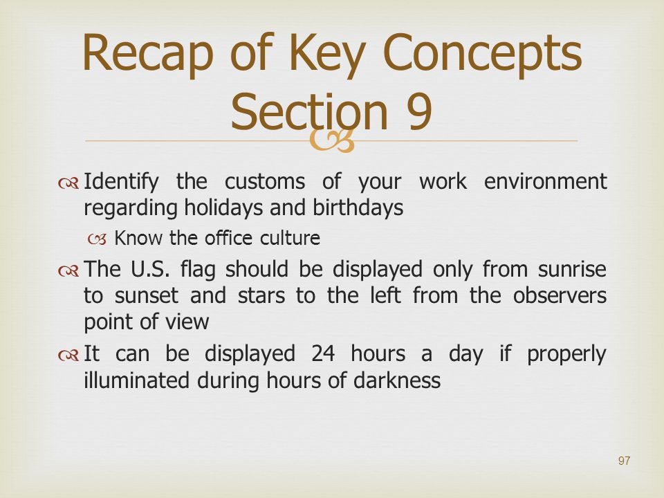 Recap of Key Concepts Section 9