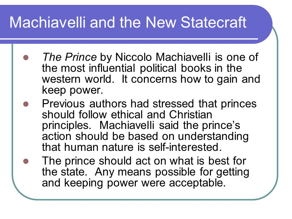 Machiavelli and the New Statecraft