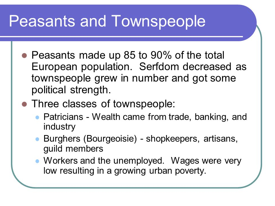 Peasants and Townspeople