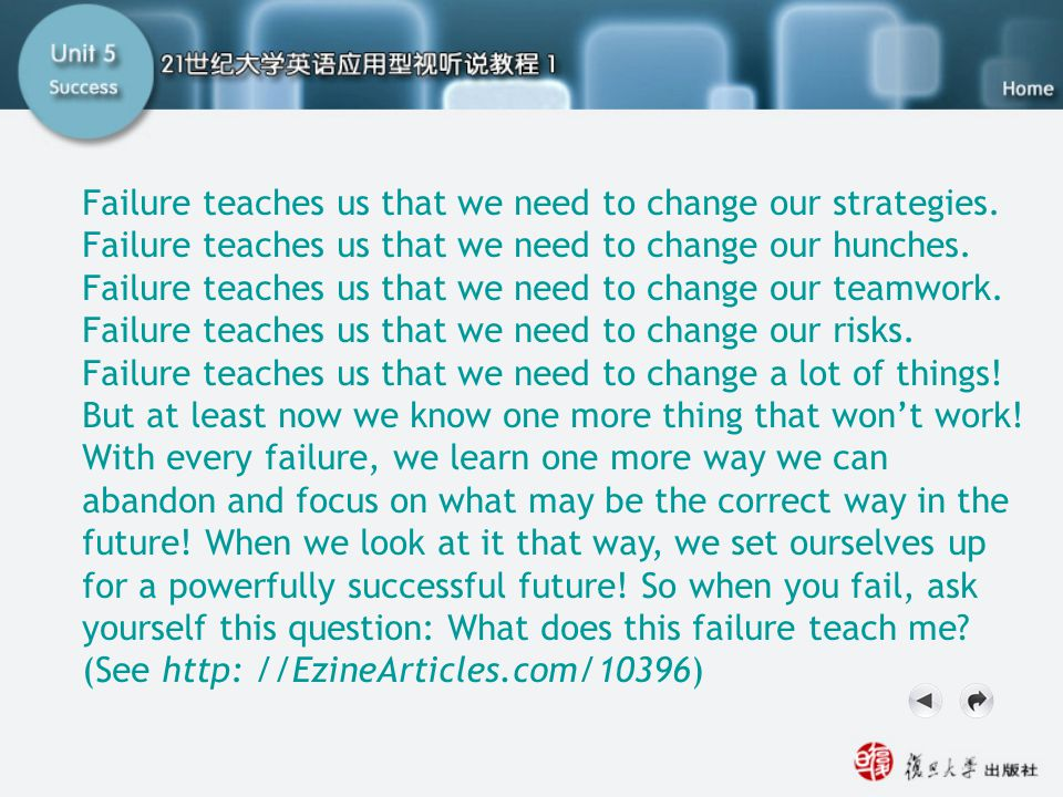 Getting Ready3.2 Failure teaches us that we need to change our strategies. Failure teaches us that we need to change our hunches.