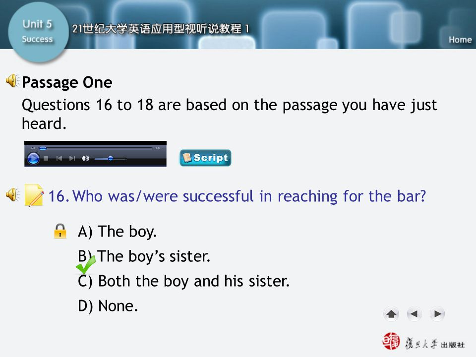 Passage One-Q16 Passage One