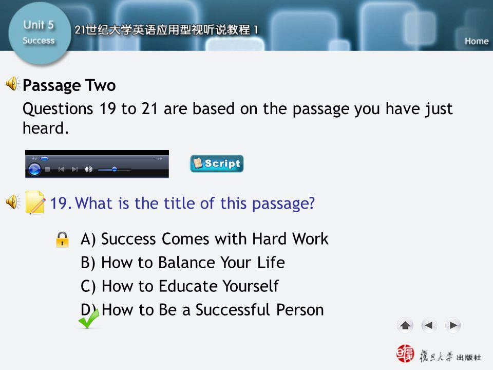 Passage Two-Q19 Passage Two