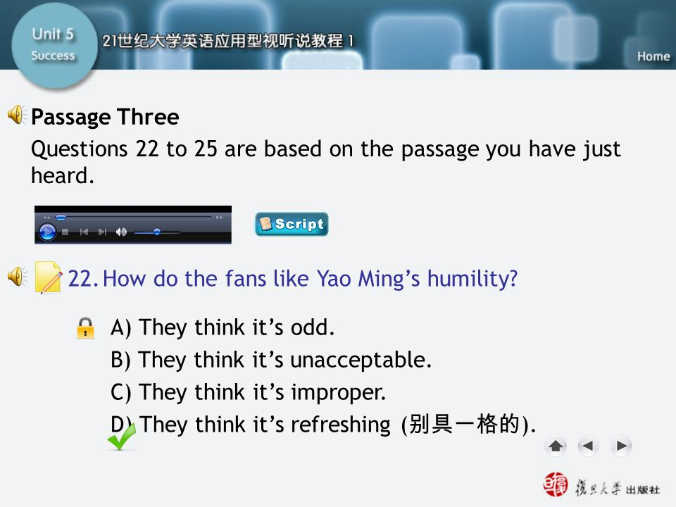 Passage Three-Q22 Passage Three