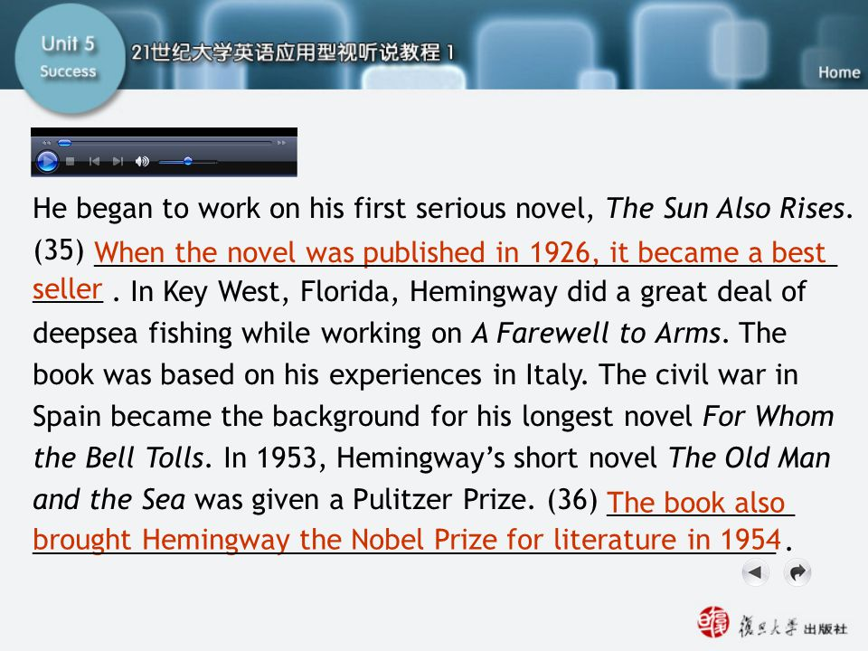 Filling the blanks3 He began to work on his first serious novel, The Sun Also Rises. (35)