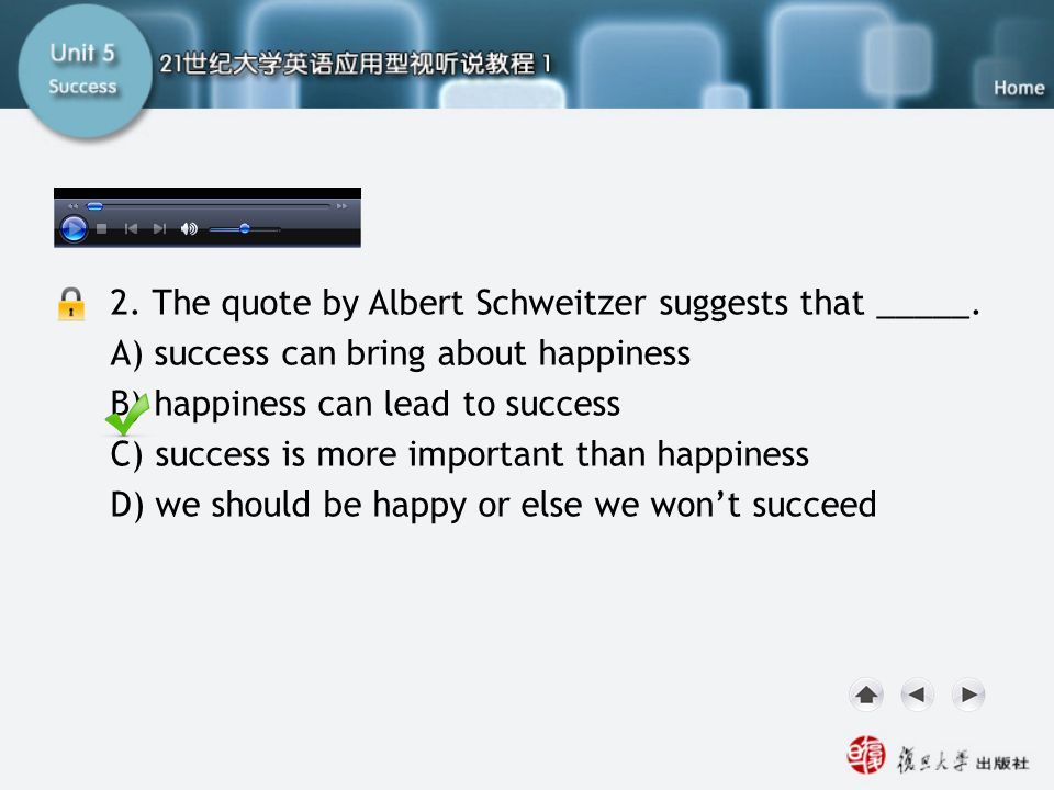 SB-Task Two2 2. The quote by Albert Schweitzer suggests that _____.