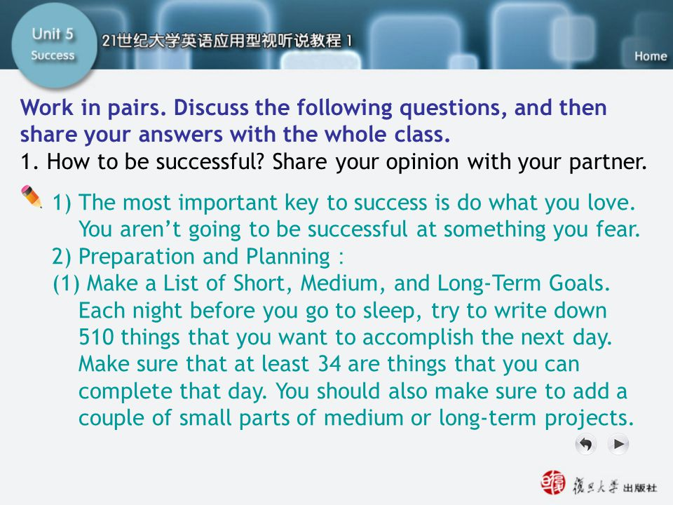 Getting Ready1.1 Work in pairs. Discuss the following questions, and then share your answers with the whole class.