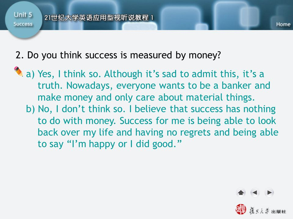 SA I. Lead-in2 2. Do you think success is measured by money