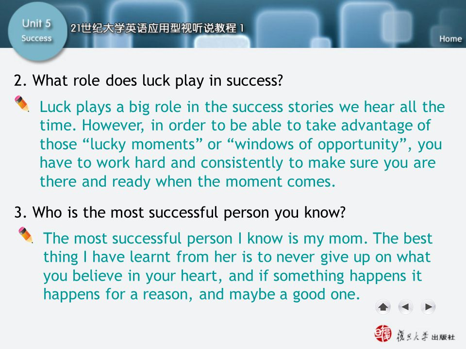SC I. Lead-in 2 2. What role does luck play in success