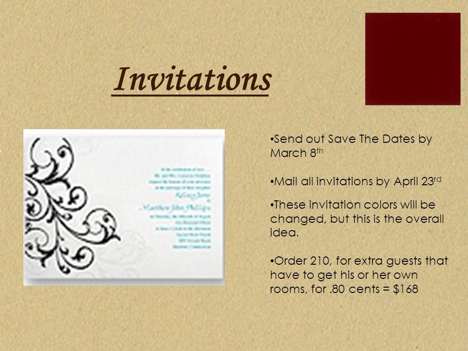 Invitations Send out Save The Dates by March 8th