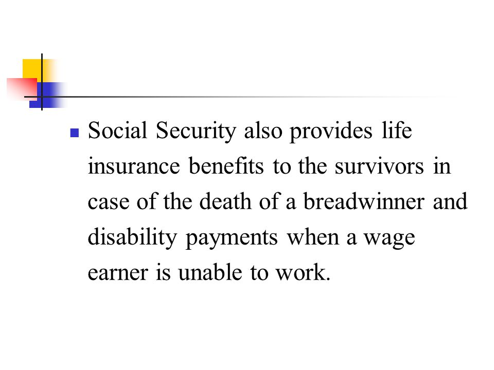 Social Security also provides life insurance benefits to the survivors in case of the death of a breadwinner and disability payments when a wage earner is unable to work.