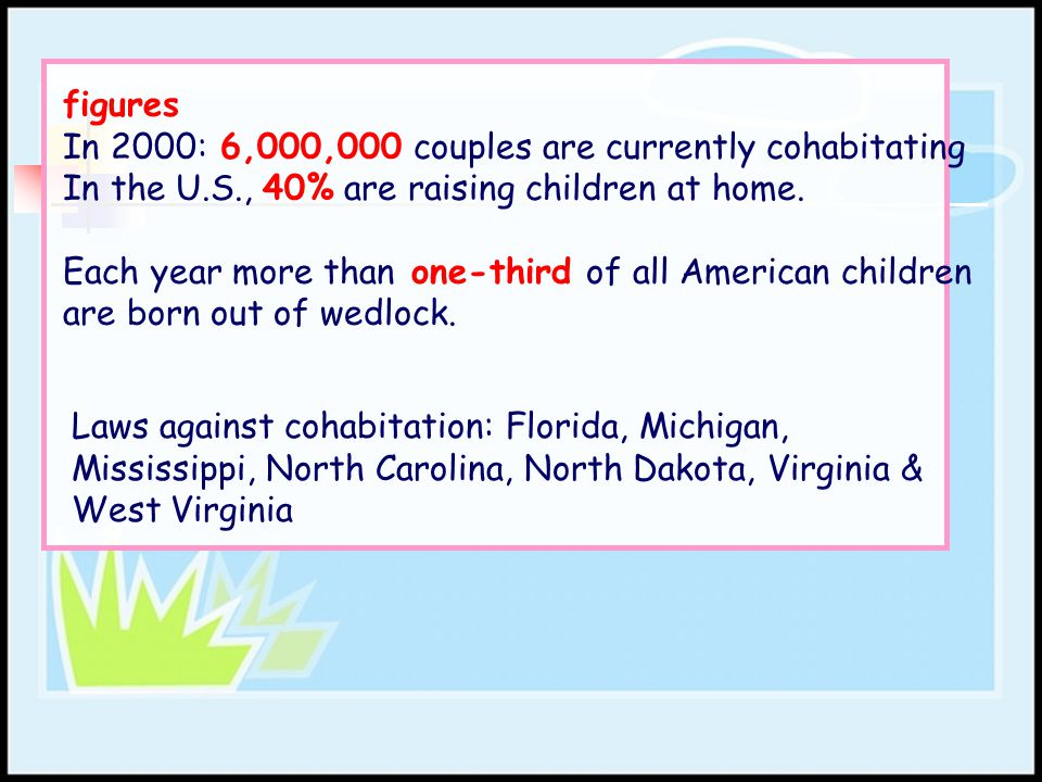 figures In 2000: 6,000,000 couples are currently cohabitating. In the U.S., 40% are raising children at home.