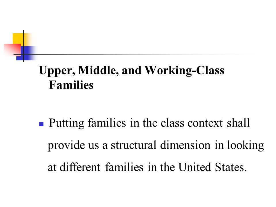 Upper, Middle, and Working-Class Families