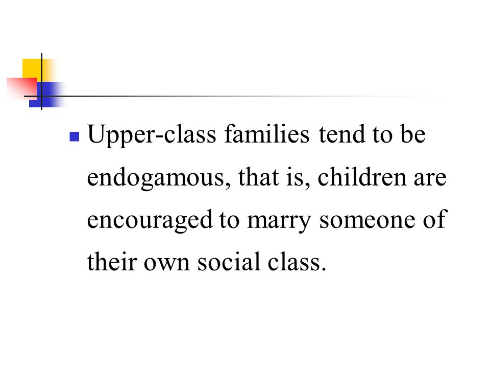 Upper-class families tend to be endogamous, that is, children are encouraged to marry someone of their own social class.