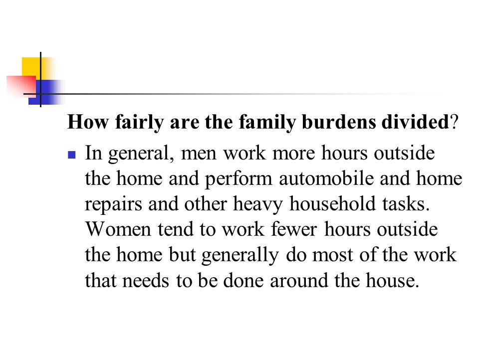 How fairly are the family burdens divided